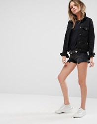 Lee Mid Rise Denim Shorts With Raw Hem Black