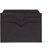 Valextra Pebble Grain Leather Cardholder Brown