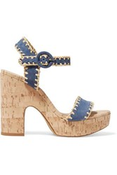 Tabitha Simmons Elena Whipstitched Suede Platform Sandals Navy