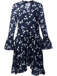 Derek Lam 10 Crosby Floral Ruffle Waist Dress Blue