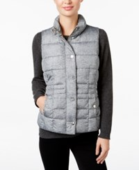Charter Club Printed Puffer Vest Only At Macy's Shadow Grey Combo