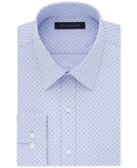 Tommy Hilfiger Men's Athletic Fit Flex Collar Performance Blue Dot Print Dress Shirt Only At Macy's