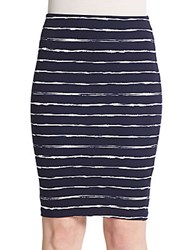 Saks Fifth Avenue Red Striped Pencil Skirt Black