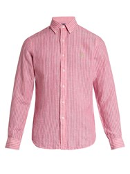 Polo Ralph Lauren Logo Embroidered Striped Linen Shirt Pink Stripe