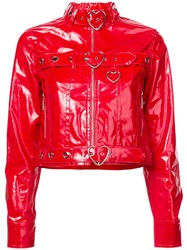 Adam Selman Jean Biker Jacket Red