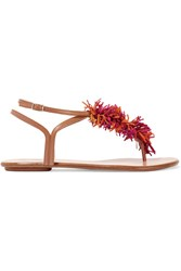 Aquazzura Wild Thing Leather And Fringed Suede Sandals Light Brown