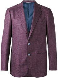 Fashion Clinic Timeless Houndstooth Pattern Blazer Pink Purple