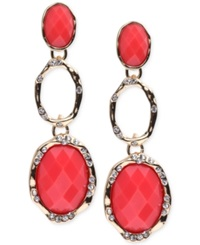 Jones New York Gold Tone Coral Stone And Crystal Triple Drop Earrings