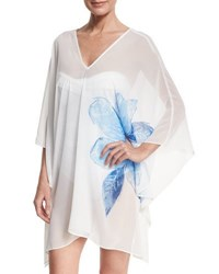 Carmen Marc Valvo Sheer Swim Coverup Caftan White