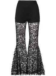 Givenchy Lace Detail Flared Trousers Women Silk Cotton Viscose Polyimide 34 Black