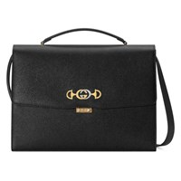 Gucci Zumi Grainy Leather Briefcase Black