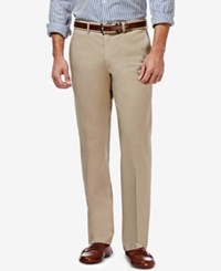 Haggar Men's Premium Straight Fit Non Iron Stretch Flat Front Pants Khaki