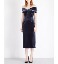 Emilio De La Morena Tamara Velvet Dress Charcoal Grey