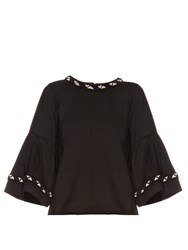Jupe By Jackie Carron Wool Embroidered Top Black