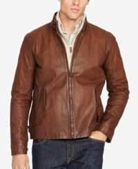 Polo Ralph Lauren Men's Big And Tall Leather Full Zip Jacket Saxony Brown