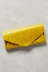 Anthropologie Shibori Leather Wallet Dark Yellow
