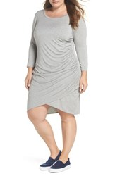 Gibson Plus Size Women's X Living In Yellow Hannah Ruched Faux Wrap Dress Heather Grey