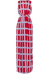 T Bags Cutout Printed Jersey Maxi Dress Red