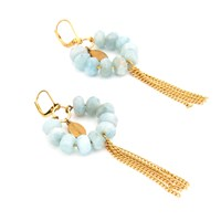 Salome Tribal Collection Aquamarine Fringe Earrings Blue Gold