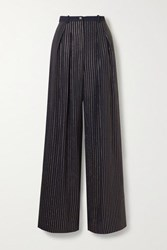 Michael Kors Collection Crystal Embellished Crepe Wide Leg Pants Midnight Blue