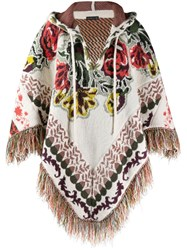 Etro Floral Fringed Poncho Neutrals