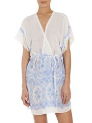 In Bloom Floral Cascading Print Short Chiffon Robe Ivory Blue