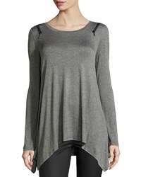 P. Luca Long Sleeve Zip Shoulder Tee Charcoal Grey