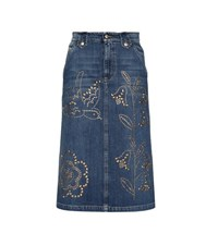 Red Valentino Denim Skirt With Applique Blue