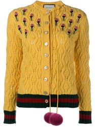 Gucci Mink Fur Pom Pom Cardigan Yellow And Orange