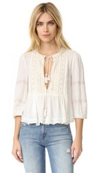 Free People The Wild Life Embroidered Top Ivory