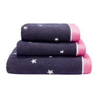 Joules Navy And Pink Star Towel Blue Pink