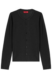 Hugo Silk Cardigan With Cotton And Cashmere Black