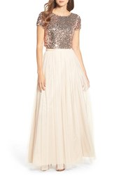 Adrianna Papell Women's Embellished Two Piece Gown Rosegold Nude