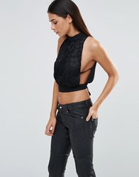 Love High Neck Tie Back Top With Lace Detail Black