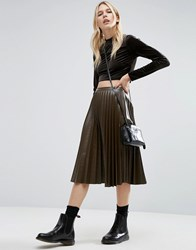 Asos Pleated Leather Look Midi Skirt Khaki Green