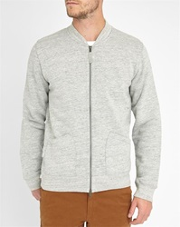 Hartford Mottled Grey Zipped Collar Bomber Style Sweatshirt