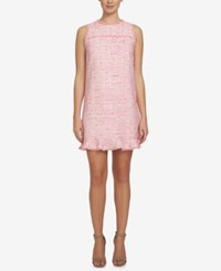 Cece Brie Tweed Ruffle Shift Dress Pink
