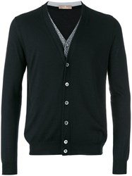 Cruciani V Neck Cardigan Men Silk Cashmere 50 Black