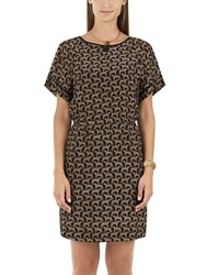 Marc Cain Cheetah Print Silk Dress Brown