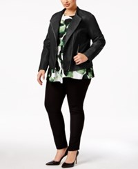 Alfani Plus Size Faux Leather Peplum Jacket Only At Macy's Deep Black