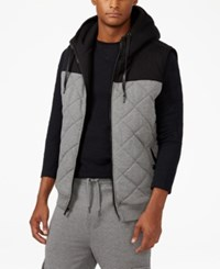 Sean John Men's Quilted Hooded Vest Medium Grey Heather