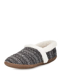 Toms Boucle Faux Fur Slipper Black White