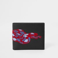 River Island Black Snake Embroidered Fold Out Wallet