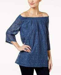 Styleandco. Style Co. Lace Off The Shoulder Top Only At Macy's New Uniform Blue