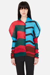 Issey Miyake Tropical Staircase Button Down Shirt Red Green
