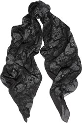 Marc By Marc Jacobs Snake Print Cotton And Silk Blend Scarf Black