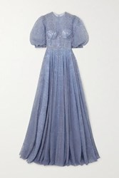 Costarellos Swarovski Crystal Embellished Embroidered Tulle Gown Lavender