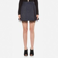 Perseverance Women's Polka Dot Lurex Mini Skirt With Lace Hem Detail Navy Blue