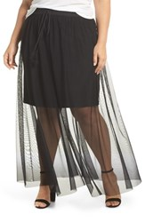 Vince Camuto Plus Size Side Tie Mesh Overlay Maxi Skirt Rich Black