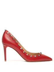 Valentino Rockstud Grained Leather Pumps Red